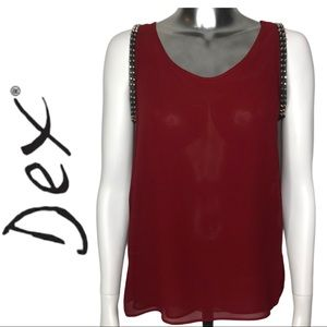 💋2/$30💋 Dex Sleeveless Blouse Metal Details Red